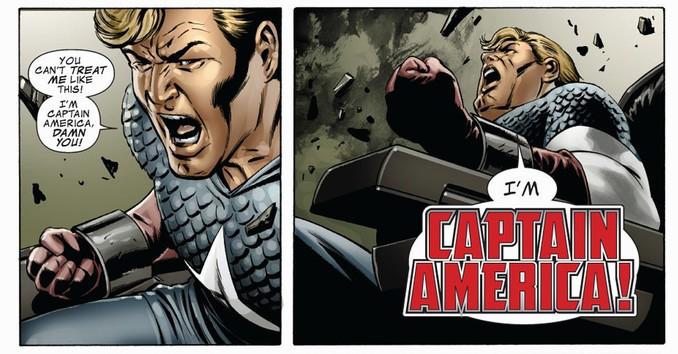 O verdadeiro Capitão, preso em uma animação suspensa após os disparos de Sharon Carter